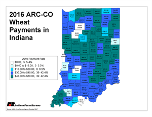 2016 ARC-CO Wheat Payments in Indiana
